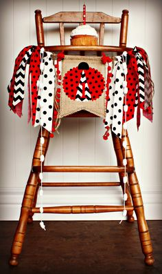 LADYBUG Inspired Birthday Age High Chair Highchair Birthday Banner/Photo Prop/Backdrop/Cake Smash/I Am One/Chair Banner/Lady Bug/Red Black by RawEdgeSewingCo on Etsy https://www.etsy.com/transaction/1013754322