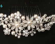 Silver Plated Off-White Ivory Pearl & Austrian Crystal Bridal Hair Comb Wedding Hair Piece Clip Tiara Slide Fascinator Brooch Vintage - 16S