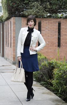 Divina Ejecutiva: Mis Looks - Doble lazo azul, negro y blanco #divinaejecutiva #workingstyle #workinglook #workinggirl #officeattire #Sirana #winter #ootd #streetstyle #Zara #aldoshoes #MNG