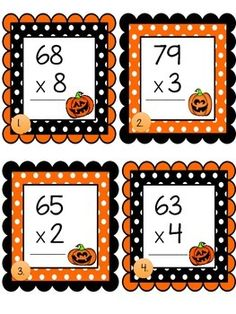 Halloween Multiplication Task Cards by Christine's Crafty Creations