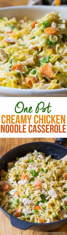Creamy One-Pot Chicken Noodle Casserole | ASpicyPerspective.com via @spicyperspectiv