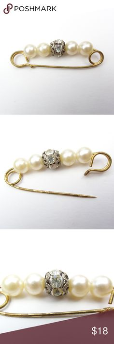 """VINTAGE 70s 80s Pin Brooch Safety Pin Style Beaded Vintage safety pin style brooch with faux pearl and crystal beads. Measures about 2"""" x 0.5"""" Good vintage condition, light general wear / marks / blemishes from age and use. Jewelry Brooches"""