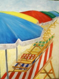 Beach Chairs and Umbrellas oil painting 12 X 16 by MARVINSTUDIO, $20.00 SOLD!! THANK YOU