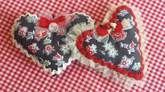 Floral Stuffed Hearts by TheRetroSeamstress on Etsy