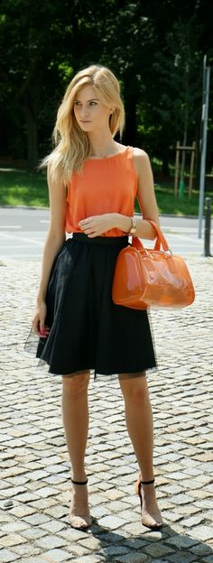 Black Tulle Skirt with Orange Open Back Top and An...