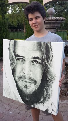 The prints of Jordan's pencil drawing of Christ, completed when he was  14,are presented on gallery quality canvas and are ready to hang.  All prints are individually signed by Jordan and come in size 24x24.