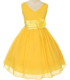 Mary - Chiffon & Satin V-Neck Flower Girl Dress in YellowThis pretty tea length dress is a multi layer yuro chiffon dress with an attached satin sash with a floral embellishment. The flower is removable to prevent damage during cleaning. This dress is fully lined with a layer of crinoline inside soft satin lining. Made in the USA.