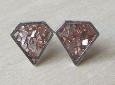 Tiny Geometric Polygon Faux Diamond 9 mm studs by ColorfulClay