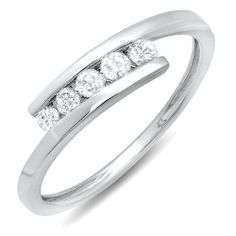 0.25 Carat (ctw) 10k White Gold Round White Diamond Ladies 5 Stone Bridal Promise Ring DazzlingRock Collection. $189.00. Crafted in 10K White gold. Items is smaller than what appears in photo. Photo enlarged to show detail. Weight approximately 1.25 grams. Diamond Color / Clarity : I-J / I2-I3. 0.25 Ct. Round cut diamonds in Channel setting. Save 71%!