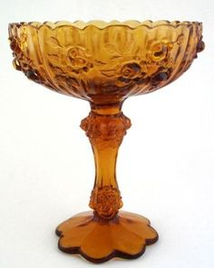 Fenton Amber Glass Tall Compote Comport Roses   eBay SOLD