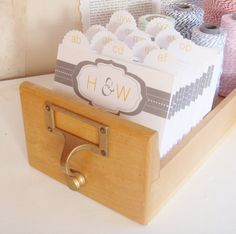 Wedding Guest Book Library Card Catalog - Modern Monogram with 400 inserts