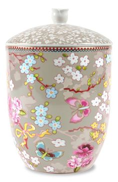 Pip Studio Porcelain Canister or Storage Jar, Khaki Floral with Roses, 60 Oz. Pretty in any room - and a great gift! Pip Studio, Storage Canisters, Jar Storage, Storage Containers, Food Storage, Porcelain Ceramics, China Porcelain, Style Asiatique, Dose