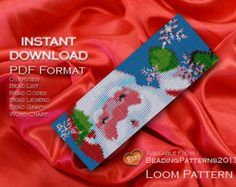 Loom Pattern Bracelet Cuff Beading Miyuki Delica Size 11 Beads - PDF Download - Happy Christmas Santa