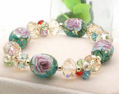 Austrian elements Crystal Bracelet, Hand painted Flower Crystal Beaded Bracelet,Elastic Rope Bracelet,Swarovski elements Luxury Style-B10511