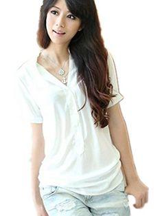 LaiGouMai Womens Casual Button Down Short Sleeve Tops Shirts ...