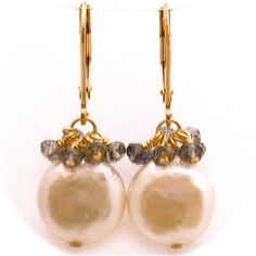 White Coin Pearl Earrings with Iolite Clusters