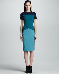 Colorblock Pebble Crepe Jersey Dress, Teal/Multi by Narciso Rodriguez at Bergdorf Goodman.