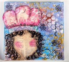 art journal i like the idea of a faceless girl with a crown diff hair (SheArt Canvas)