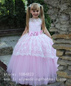 2017 Sweet Lace Bow Ball Gown Flower Girl Dresses Tulle Floor-Length Girls Pageant Dresses First Communion Dresses For Girls