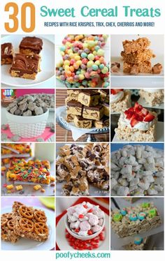 30 Easy Sweet Cereal Treats - recipes with rice krispies, trix, chex, cheerios and more! Do you choose canned foodstuff or dry food items? What brand name? Rice Crispy Treats, Krispie Treats, Yummy Treats, Delicious Desserts, Sweet Treats, Dessert Recipes, Rice Krispies, Breakfast Recipes, Cereal Treats