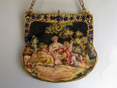 French Aubusson Tapestry Purse c1900 ~ Jeweled Frame