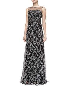 Illusion-Neck Beaded Gown by Badgley Mischka Collection at Neiman Marcus.