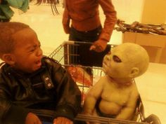 a child who was in the super market with his mother, he had inserted into shopping cart then suddenly another child go in with Halloween-style face, just shocked and crying child see a child with a facial creepy edge