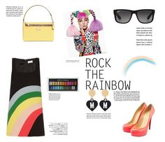 """Rainbow Style"" by katsin90 ❤ liked on Polyvore featuring RED Valentino, Christian Louboutin, Coach, Ray-Ban, Moschino, Avenue and RockTheRainbow"