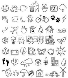 Eco doodle icon set - crafting - – Millions of Creative Stock Photos, Vectors, Videos and Music Files For Your Inspiration a - Doodle Art, Doodle Drawings, Easy Drawings, Doodle Images, Flower Drawings, Doodle Designs, Icon Set, Bujo Doodles, Planner Doodles