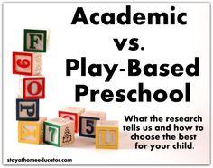 Academic vs. Play Based Preschool