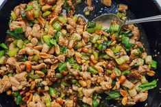 tsp red pepper flakes or cayenne = sambal oelek) Spicy Chicken Stir-Fry With Celery and Peanuts Recipe Stir Fry Ingredients, Chinese Stir Fry, Chinese Food, One Skillet Meals, Peanut Recipes, Asian Recipes, Ethnic Recipes, Asian Foods, Chicken Stir Fry