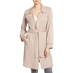 cupcakes and cashmere 'Adams' Drape Trench Coat ($175) ❤ liked on Polyvore featuring outerwear, coats, camel, camel trench coat, pink coat, draped trench coat, camel coat and trench coat