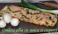 Omleta alba cu sunca si ciuperci Dukan Diet Recipes, Healthy Recipes, Healthy Food, Egg White Frittata, Turkey Ham, South Beach Diet, Stuffed Mushrooms, Stuffed Peppers, Protein Sources
