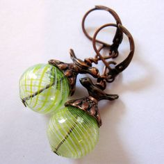 Antique Copper Tibetan Baby BIRD Charm Lemon Lime by MystiqueCat, $12.00