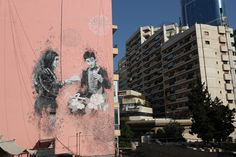 "A calligraphy mural depicting two famous characters from the iconic movie ""West Beirut"", drawn by Yazan Halwani, in Beirut, Lebanon. (Gino'sBlog) http://pow.photos/2017/international-pow-17-23-october/"