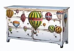 Simple Nantucket 7 Drawer Dresser: decoupage up cycled dresser with hot air balloons