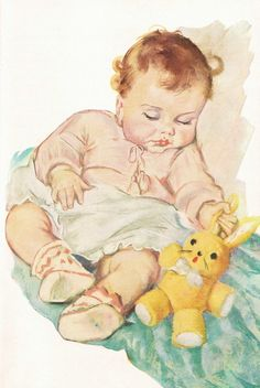 An illustration from a booklet called 'Your Baby' put out by Pet Milk in The name of the artist isn't given. Vintage Baby Pictures, Baby Images, Vintage Images, Baby Clip Art, Baby Art, Baby Illustration, Illustrations, Vintage Cards, Vintage Postcards