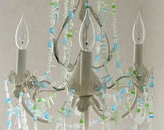 Sea Glass Chandelier Ombre FLUSH MOUNT by CoastalRadianceLites