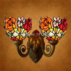 "Antique Tiffany Style Stained Glass Rose Wall Lamp Double Lampshade Bedroom Living Room Lighting Fixtures Vintage Wall Sconce 6""(China (Mainland))"