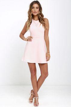 Soft Strumming Light Pink A-Line Dress at Lulus.com!