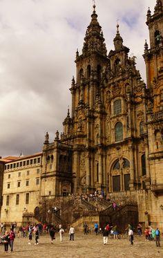 I walked over four weeks to walk up its steps. A life-changing journey! Santiago de Compostela, Spain