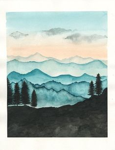 Blue Ridge Mountains Watercolor Print / Nature of Ra . Blue Ridge Mountains Watercolor Print / Nature by RainStain on Etsy Art Inspo, Painting Inspiration, Watercolor Print, Watercolor Paintings, Easy Watercolor, Watercolor Paper, Watercolor Landscape Tutorial, Watercolor Sunset, Art Diy