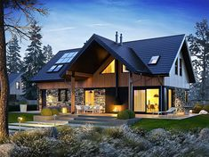 Barn House Design, Home Building Design, Roof Design, Modern House Design, Building A House, Modern Houses, House Extension Design, Modern Mountain Home, Forest House