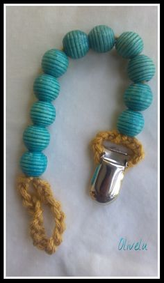 Unique Turquoise and Gold Pacifier Clip. Beaded Baby Crochet Nook Clip