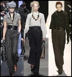 On the left. Like the wide, high-waist cut of these trousers with the heavy belt.