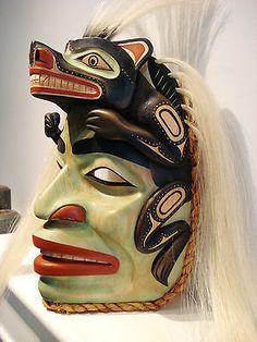 Northwest Coast Native Art  SHAMAN TRANSFORMING INTO WOLF  MASK SCULPTURE