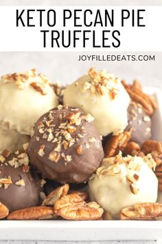 Low Carb Pecan Pie Truffles are the indulgent treat you need in your life this holiday season. They are decadent, rich, and made with sugar-free chocolate chips, pecans, cream cheese, and a dash of molasses. Pecan pie fans, it's time to rejoice! Now you can enjoy all the traditional flavors of pecan pie, but in a bite-sized truffle that is easily transportable. They are so simple to make, as well. They are gluten-free, low carb, keto, and grain-free. Trim Healthy Mama Plan, Keto Recipes, Cooking Recipes, Sugar Free Chocolate Chips, Low Carb Desserts, Keto Snacks, Truffles, Pecan, Treats