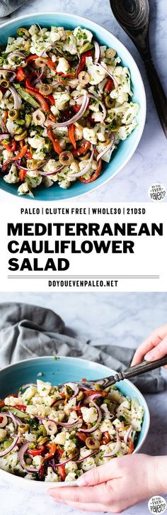 Paleo & Whole30 Mediterranean Cauliflower Salad recipe is a serious upgrade for your summer potlucks! Tender steamed cauliflower serves as a solid base, with roasted bell peppers, olives, red onion, parsley, and a simple dressing to create unmistakable Mediterranean flavor and color. This healthy salad recipe is gluten free, paleo, and Whole30. With enough to feed a crowd, this is also a great meal prep recipe! #whole30 #paleorecipes | DoYouEvenPaleo.net