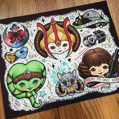 Star Wars Tattoo Flashsheet by StabbyGabby! Beautiful!!