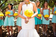 Turquoise and yellow - this is exactly my color scheme for my wedding... :)